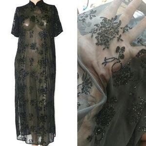 🎄Vintage 16W, Mesh Velvet Glitter Side Slit Gown